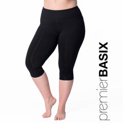 Nylon Basix Capri - Rainbeau Curves, 14/16 / Black, activewear, athleisure, fitness, workout, gym, performance, womens, ladies, plus size, curvy, full figured, spandex, cotton, polyester - 1