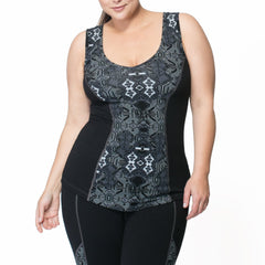 Janis Print Tank - Rainbeau Curves, 14/16 / Black Moroccan Mystic, activewear, athleisure, fitness, workout, gym, performance, womens, ladies, plus size, curvy, full figured, spandex, cotton, polyester - 3