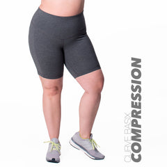 Curve Basix Compression Bike Short - Rainbeau Curves, 14/16 / Charcoal, activewear, athleisure, fitness, workout, gym, performance, womens, ladies, plus size, curvy, full figured, spandex, cotton, polyester - 1