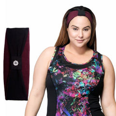 Norah Reversible Headband - Rainbeau Curves, One Size / Elderberry, activewear, athleisure, fitness, workout, gym, performance, womens, ladies, plus size, curvy, full figured, spandex, cotton, polyester - 1