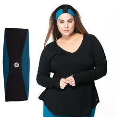 Norah Reversible Headband - Rainbeau Curves, One Size / Ink Blue, activewear, athleisure, fitness, workout, gym, performance, womens, ladies, plus size, curvy, full figured, spandex, cotton, polyester - 6