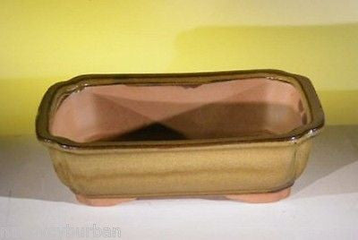 "Ceramic Bonsai Pot Rectangular Tan Bonsai Pot w/ Lip 10"" x 8"" x 3"""