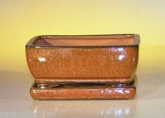 "Ceramic Bonsai Pot Pre-Wired Rectangle w/ Tray Azetc Orange 6.4""x4.8""x2.63"""