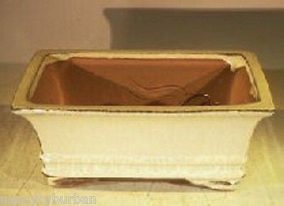 "Ceramic Bonsai Pot Rectangle Two-tone Beige/Brown 8.25"" x 6.25"" x 3"" wired"