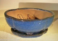 "Ceramic Bonsai Pot Oval Lotus Shape Blue w/ Tray 10.5"" x 9"" x 4"" pre-wired"
