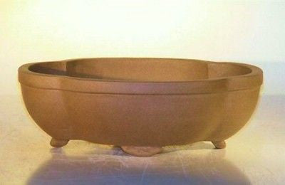 "Ceramic Lotus Shaped Oval Unglazed Bonsai Pot in Four Sizes 6 1/2""L to 12""L"