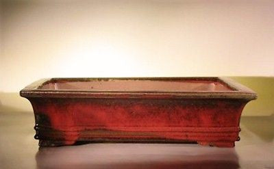 "Ceramic Bonsai Pot Rectangle Parisian Red 20 1/4"" x 16 1/2"" x 5"""