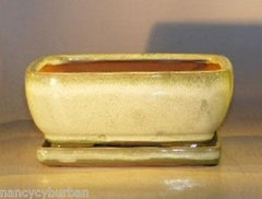 "Ceramic Bonsai Pot Pre-Wired Rectangle w/ Tray Woodlawn Green - 8.5""x6.5""x 3.5"""