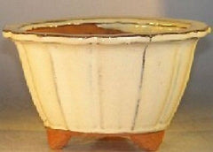 "Ceramic Bonsai Pot Fluted Round Beige 7 3/4"" x 4 1/2"""