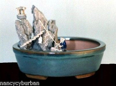 "Ceramic Bonsai Pot Water/Stone Landscape Scene Oval 8"" x 6"" T"