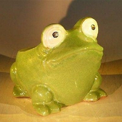 "Frog Planter Ceramic Bonsai Pot - Green Measures 7.0"" x 9.0"" x 7.5"" Tall"