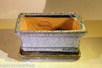 "Ceramic Bonsai Pot Rectangle Marble Blue w/att'ed Tray 6.37""x 4.75"" x 2.62 wired"