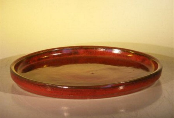 "Bonsai  Humidity/Drip Tray Ceramic Red Round Bonsai Tray 12"" x 1 1/4"""