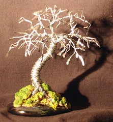 "Metal Wire Bonsai Tree Sculpture Hammered Leaves Mini Bonsai Tree - 4""x 4""x 4"""