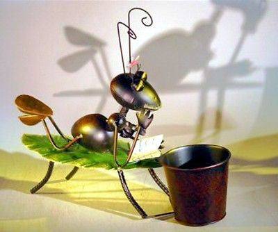 Bonsai Whimsical Decorative Garden Planter Holder Metal Sunbathing Ant Figure