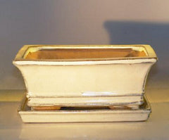 "Bonsai Pot Rectangle Beige pre-wired w/ Attached Tray 8.5""x6.5""x3.5"""