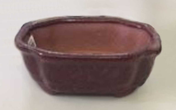 "Ceramic Bonsai Pot Rectangular Parisian Red Bonsai Pot w/ Lip 6.125""x4.5""x2.125"""