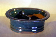 "Ceramic Bonsai Pot Oval Land/Water Divided Dr Blue Glazed 8""x 6""x 3"""