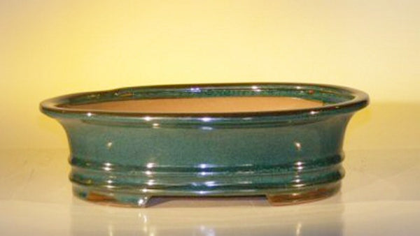 "Glazed Ceramic Bonsai Pot Oval Dr. Moss Green 12"" x 9.5"" x 3.375"""