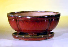 "Ceramic Bonsai Pot prewired w/ Tray Parisian Red Oval Lotus Shape - 8.5""x6.5""x3.5"""