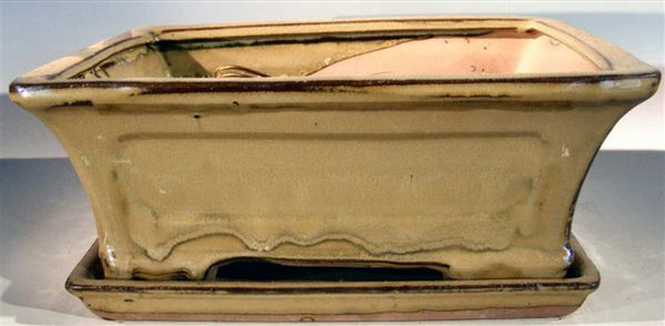 Ceramic Bonsai Pot Rectangle Mustard Drip Glaze 10.25 x 8 x 4.12 OD pre-wired