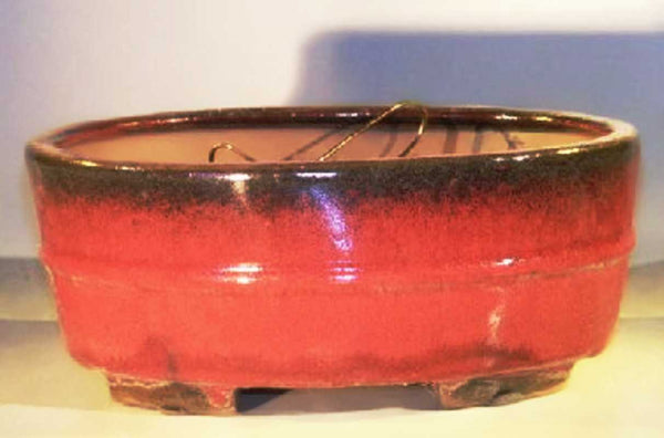 Bonsai Pot Ceramic Oval Side Detail <br>Parisian Red Glazed Footed Bottom<br>10 x 8 x 4