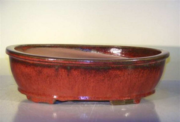 "Ceramic Bonsai Pot Oval Parisian Red Glaze Dark Hilights 14"" x 11"" x 4"""