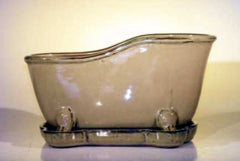 "Ceramic ""Bathtub"" Planter or Bonsai Pot Mustard W/ Matching Tray 10.875"" L"