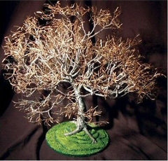 Bonsai Tree Wire Art Contemporary Sculpture Steel & Brass Wire Dogwood on Lawn