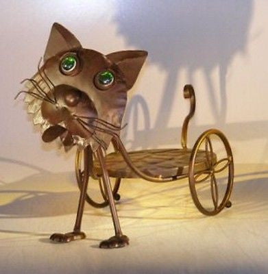 Bonsai Whimsical Plant Holder Decorative Cat with Moving Head & Tail