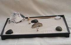 "Executive Desktop Meditation Zen Sand Stone Garden w/ figurines 14.5""x10.5""x1"""