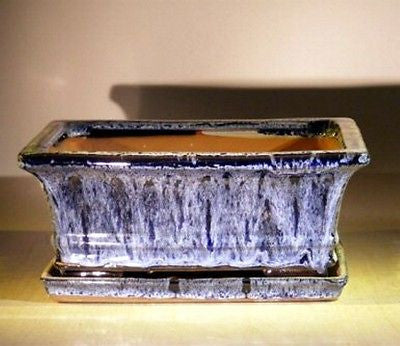 "Ceramic Bonsai Pot Rectangle Marble Blue w/ attached Tray 10"" x 8 x 4.5 prewired"