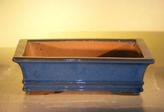 "Ceramic Bonsai Pot - Blue Ceramic Bonsai Pot - Rectangle 14"" x 11.5"" x 4"""