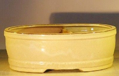 "Ceramic Bonsai Pot Beige Glazed Oval Land/Water Divided 10"" x 8"" x 3.75"""