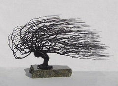 Bonsai Tree Wire Sculpture Black Steel Wire Art Windswept Style Bonsai Sculpture