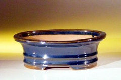 "Ceramic Bonsai Pot - Oval - Dark Blue  - 7"" x 5 1/2"" x 2 3/8"""
