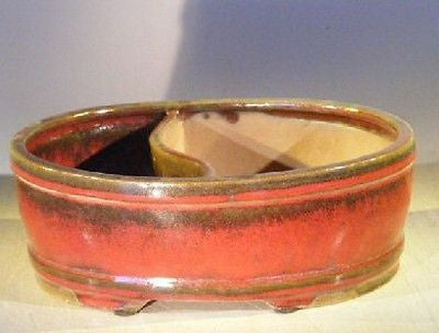 "Ceramic Bonsai Pot P.Red Glazed Oval Land/Water Divided 10"" x 8"" x 3.75"""