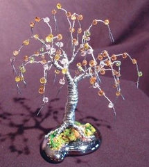 "Metal Bonsai Tree Contemporary Sculpture Steel & Beaded Mini Tree - 4""x 4""x 4"""