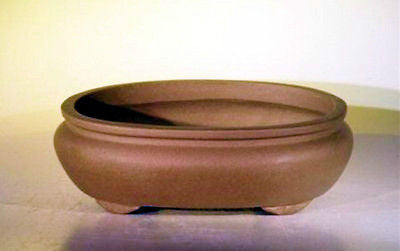 "Unglazed Ceramic Bonsai Pot Oval Drk Tan 10"" x 7.875"" x 3.125"""