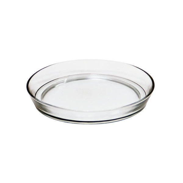 "Glass Drip Tray ROUND Plant Pot Saucers Glass Trays 8 3/4"" & 10 1/2"" D Sizes"