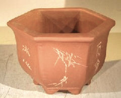 "Ceramic Bonsai Pot Unglazed Hexagon Bonsai Pot w/ Floral Etching 8""x7""x6""T"
