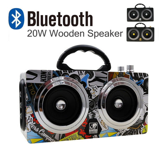 20W Wooden  Outdoor Bluetooth Super Bass - ManSeeManWant
