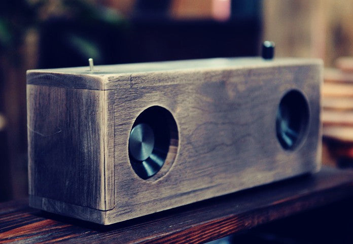 30w hand-made retro design walnut wood desktop speaker D class amplifier support line in - ManSeeManWant