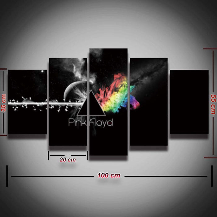 5 panel Pink Floyd rock music canvas for ManCave - ManSeeManWant