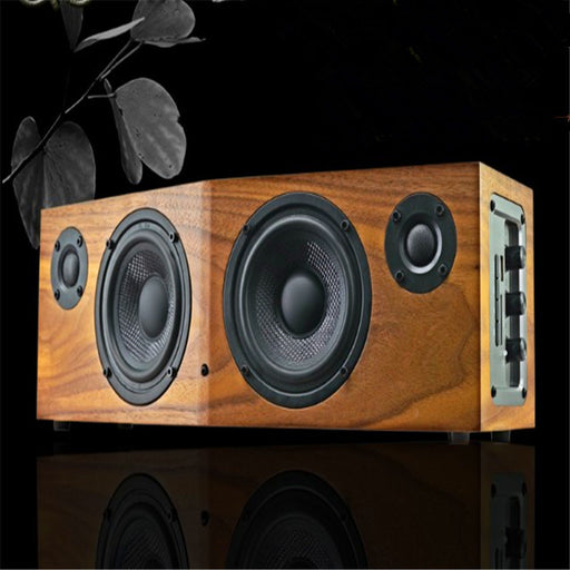 50w music fans multi-function hifi desktop wooden speaker remote control FM support repeat  for 1 or fold song bluetooth nfc - ManSeeManWant