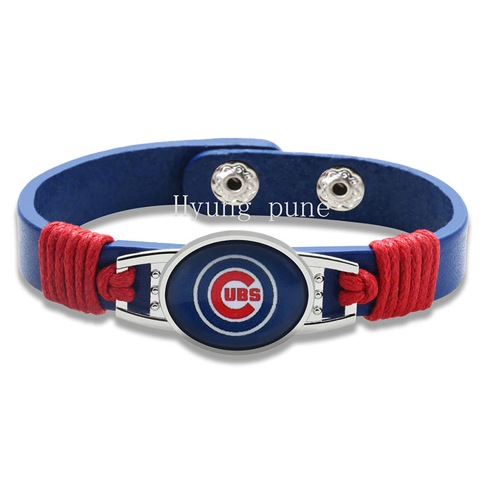 Chicago Cubs Womens Leather Adjustable Bracelet  Jewelry - ManSeeManWant