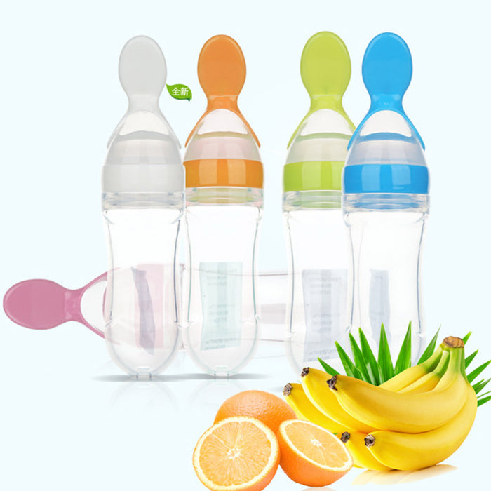 Soft Baby Silicone Spoon Training Infant Feeding Squeeze Bottle - ManSeeManWant