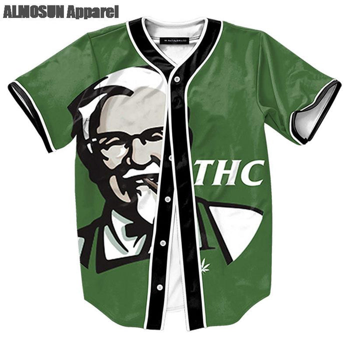 THC Smoking Man Jersey Baseball T-Shirt  Fathers Day - ManSeeManWant