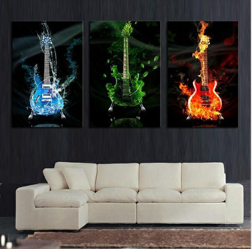 Heavy Metal 3 Panel Large Printed Music Guitar Canvas - ManSeeManWant