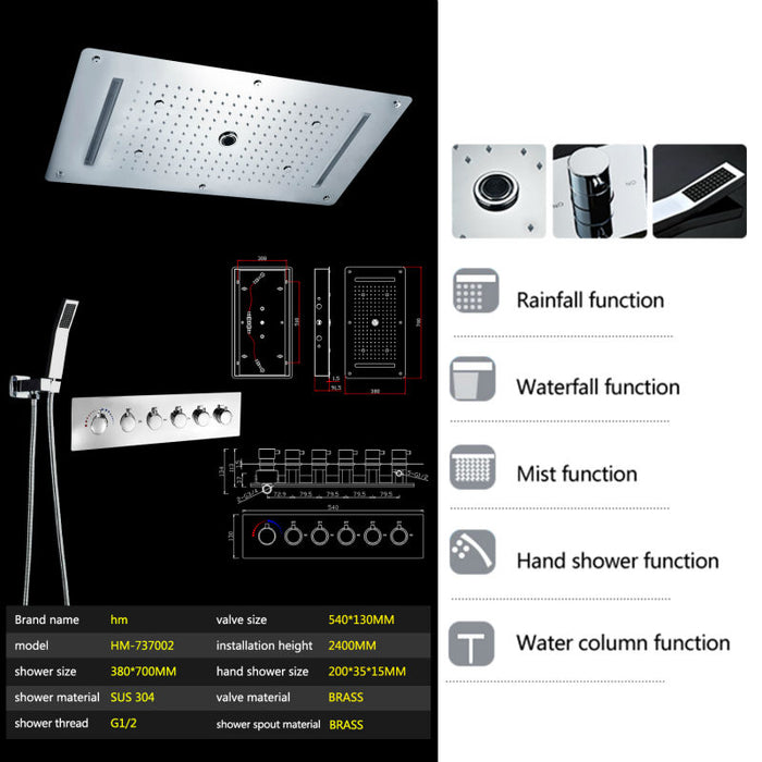 Bathroom Shower Set Accessories water  Mixer LED Ceiling Shower Waterfall